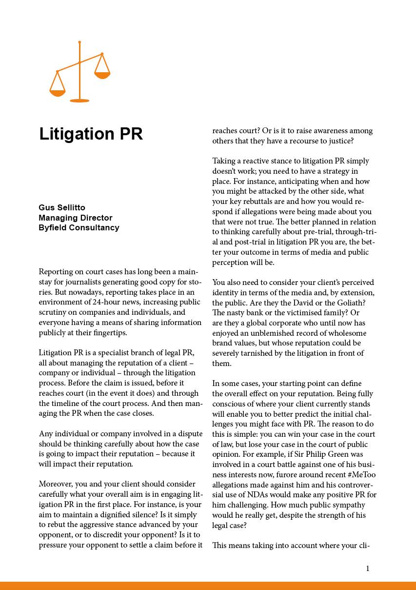 Litigation PR report